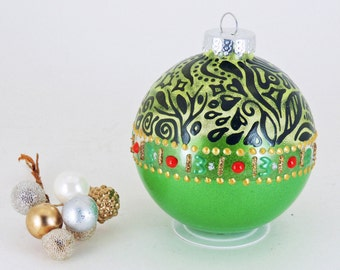 Our First Christmas ornament - Hand painted glass bauble - Florina Collection in green