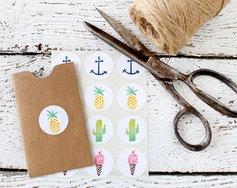 Set of 24 Summer Fun Stickers, 1 inch, stickers, labels, summer vacation, packaging, colored stickers, fun in the sun, anchor, ice cream