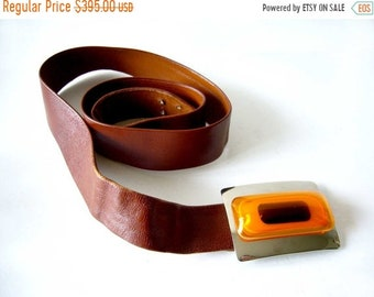 Spring Sale 1970's Aaronel deRoy Gruber Layered Lucite Belt Buckle on Leather Strap