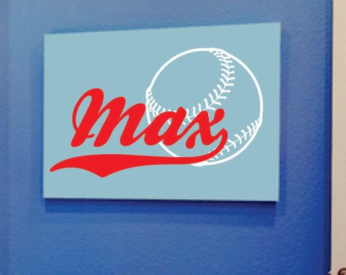 Custom Boys Name With Baseball Decal // Name Wall Decal // Boys Bedroom Decal // Sports Vinyl Wall Art // Baseball Decor // Personalized