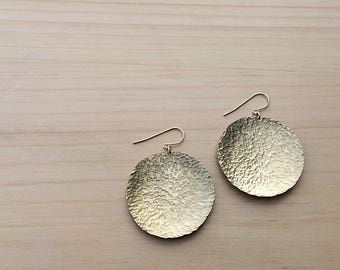 gold disc earrings   hammered brass   statement earrings   gift for her