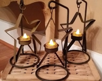Primitive Country Star Candle Stand - Grubby candle Rustic Home decoration metal