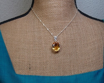 Natural Genuine Rare AAA Grade South American 20.70 Carat Yellow Topaz Gemstone, Solid 925 Sterling Silver Necklace