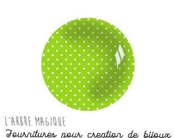 lime green with white dots 2 Cabochons fancy glass Ref1-18 mm Theme various treble clef note