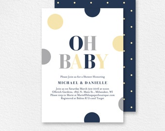 Baby Shower Invitation, Oh Baby, Gender Neutral, Baby Shower Invite, Baby Shower Printable, Baby Shower Idea, PDF Instant Download #BPB94_1N