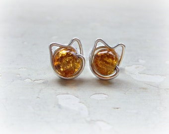 Cat Stud Earrings, Orange Cat Earrings,Amber Stud Earrings, Glass Post Earrings, Kitty Cat Earrings,Tabby Cat Earrings, Sterling Silver Stud