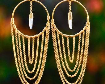 Kyanite Ripple Gemstone Chain Dangle Earrings Boho Jewelry Gold Fill Earwires