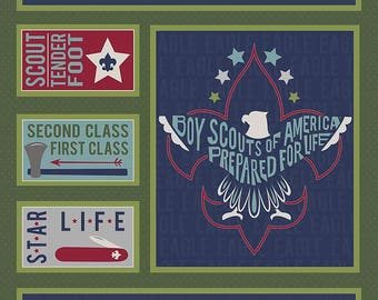 SALE Modern Scouting Panel Green by Riley Blake Designs - Boy Scouts Eagle - Quilting Cotton Fabric