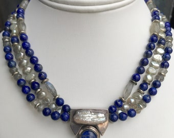 Lapis and Labradorite with Freshwater Pearl Necklace