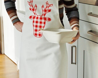 Stag Apron - available in red or blue