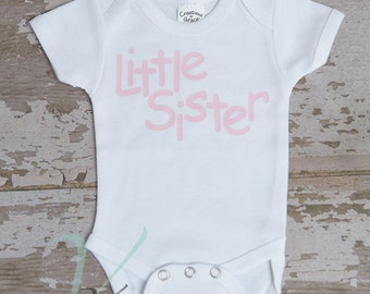 little sister, baby Romper, creeper, personalized, newborn outfits, white, Romper with sayings, t-shirts