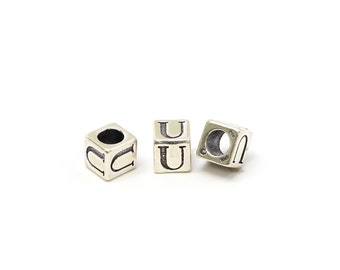 Alphabet Beads Sterling Silver 6mm Alphabet Blocks U - 1pc (3214)/1