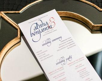 "Modern Wedding Programs, Elegant Wedding Programs, Coral and Navy Blue Programs, Wedding Ceremony - ""Dramatic Script"" Flat Program - DEPOSIT"