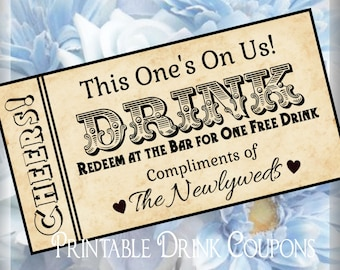 Drink tickets diy wedding printable instant download digital printable grunge drink tickets diy wedding printable instant download digital solutioingenieria Image collections