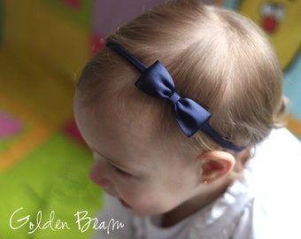 Flower Girl Headband, Baby Headbands, Hair bands, Headband, Girl Headbands, Newborn Headbands - Small Satin Navy Bow - Golden Beam