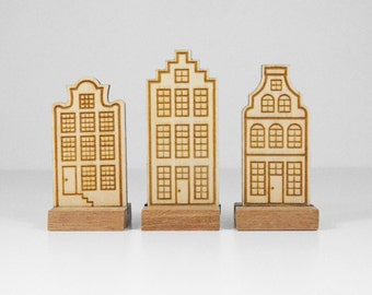 Wooden decoration: Set of 3 Dutch canal houses