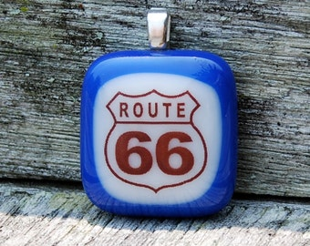 SALE Route 66 Fused Glass Pendant - Highway Sign - Travel
