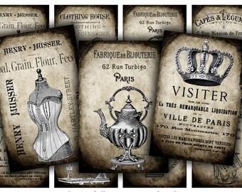 Grunge French Digital Collage Sheet Download - 628 - Digital Paper - Instant Download Printables