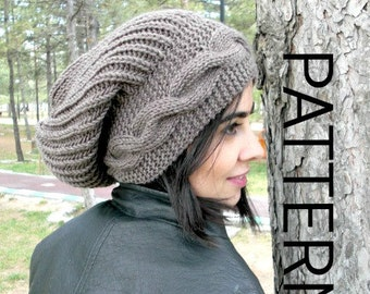 Instant Download Knit hat pattern  Digital  Hat Knitting PATTERN PDF Winter Hat   Cable Style  Knit hat  Pattern  Slouchy  Hat Knit Pattern