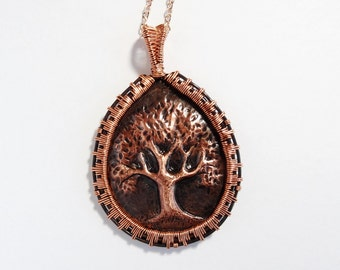 Tree of Life Copper Repousse Wire Wrapped Pendant Necklace