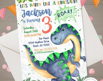 Dinosaur Birthday Invitation Watercolor Dinosaur Invitation Dinosaur Party  Dinosaur Invite Dinosaur 1st Birthday Party Boys Dino Invitation