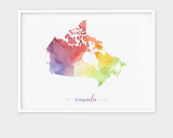 Watercolor Canada Map Wall Art, Canada Wall Art Decor, Watercolor Map Print, Canada Map Country Map Poster, Watercolor Country Map Printable