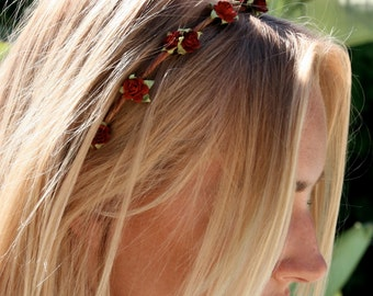 Eterie Dainty Flower crown, flower headband,red rose crown, festival flower crown, wedding halo, day of the dead crown. flower halo, bridal