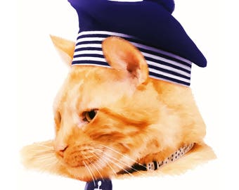 "Fine Art Print - ""Sailor Cat"""
