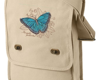 Miniature Menagerie Butterfly Diagram Embroidered Canvas Field Bag