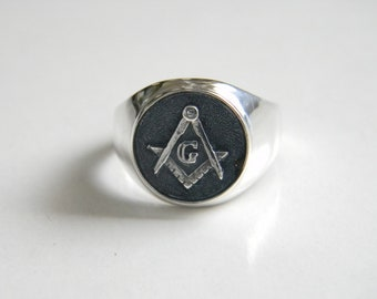 Freemason Ring, Handmade 925 Silver Masonic Ring, Freemasonry Ring