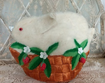 Vintage Bunny TEA COZY!  Hand made~Glass EYES~Strawberry~Shabby Chic~English Cottage