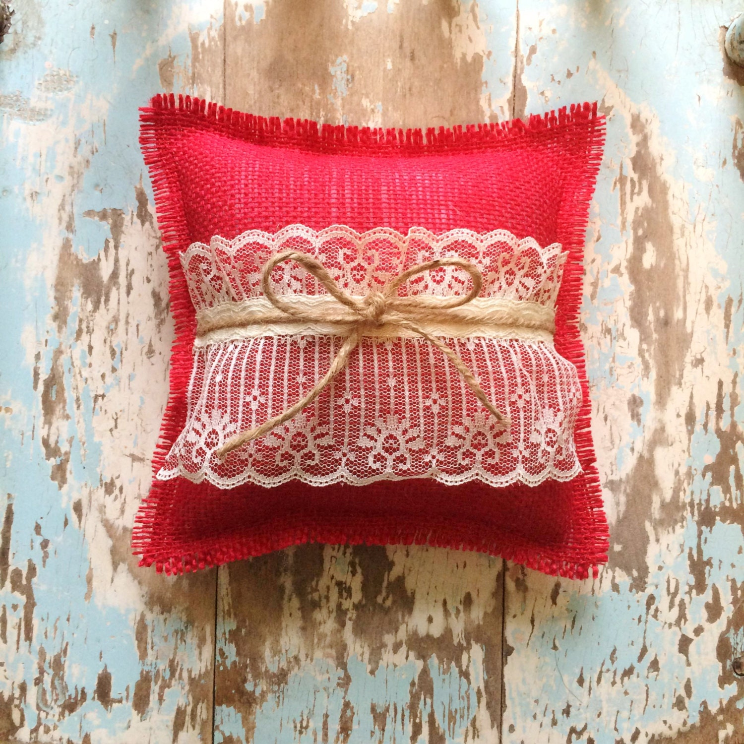 8 x 8 Burlap Ring Bearer Pillow w/ Lace & Jute Twine- Rustic/Country ...