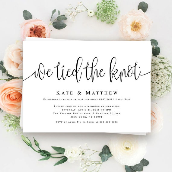 We Tied The Knot Invitation Elopement Invitation Template - Party invitation template: elopement party invitation template