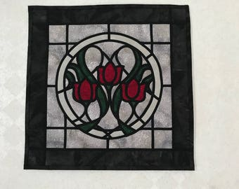 Red Tulips Stained glass look quilted wall hanging