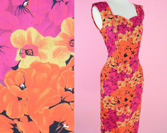 Vintage 90s Floral Dress // Summer, 1990s, Pink, Orange, Yellow, Cocktail Dress, Womens Size Medium