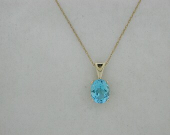 Blue topaz necklaceswiss blue topaz pendantsterling blue natural blue topaz pendant solid 14kt yellow gold aloadofball Gallery