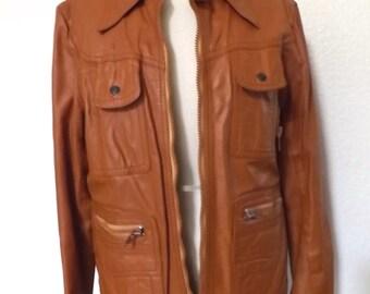 Vintage Men's Leather Member's Only Jacket Cafe Racer  - Caramel Brown