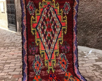 Vintage Moroccan Boucherouite berber Rug,   (250x140cm) [Shipping Inclueded]