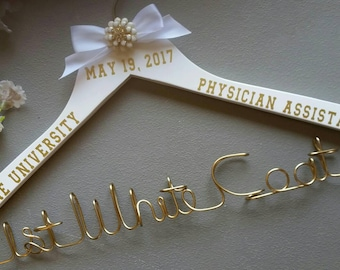 Personalized Hanger, White Coat Ceremony, First White Coat, PA Graduate,  Physician Assistant Gift, New PA Gift, Lab Coat Hanger, PA Gift