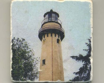 Grosse Point Light-Evanston, IL- Original Coaster