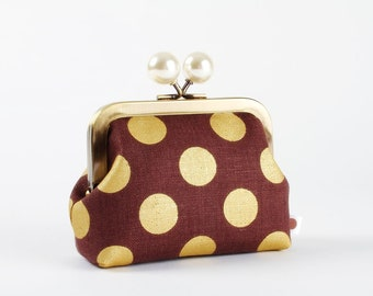 Metal frame coin purse with color bobble - Golden dots on brown - Color dad / Linen / metallic gold / pearly white