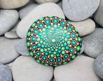 Green Painted Stone - Irish Painted Rock - Mandala Stone - Meditation Mandala Rock - Unique Home Decor - Dotilism - Paperweight