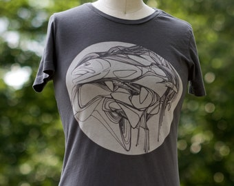 Trout in the Riffles Discharge Ink Printed Fly Fishing Tee Shirt by Andrea Larko