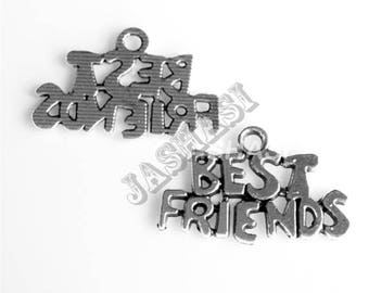 10 Best Friends Words Antique Silver Charms 25mm x 16mm (609)