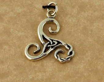 Sterling Silver Celtic Woven Triskele charm, pendant with Trinity Knot
