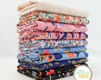 "Les Fleurs - Fat Quarter Bundle - 11 - 18""x21"" Cuts by Rifle Paper Company for Cotton and Steel Quilt Fabric"