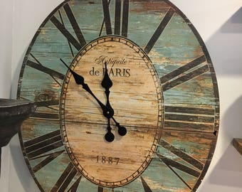 Rustic Blue wood clock