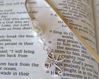 Bookmark Religious Cross silver swarovski shepherds hook bookmark Communion Confirmation Christmas religious instructor book lover gift