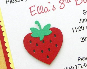 Strawberry Birthday Party Invitation ~ Red and Yellow