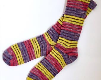 Handmade Wool Socks 442 -- Men's Size 10-12